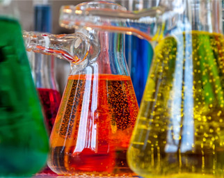 Chemistry Flasks with Colored Liquid